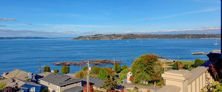 puget sound: Bella vista panoramica di Puget Sound a Tacoma, WA Archivio Fotografico