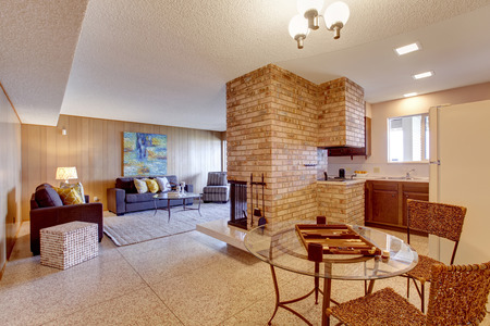 Basement open floor plan. Living room with dining and kitchen area separated with brick fireplace. Mother-in-law apartment interior photo