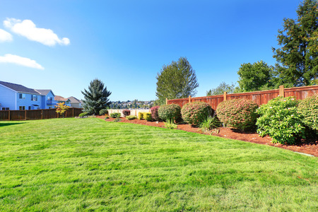 fenced: Fenced backyard land with decorative bushes and lawn Stock Photo