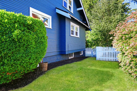 Blue house exterior with backyard area. Gren lawn with trimmed hedge and white wooden fence Stock Photo