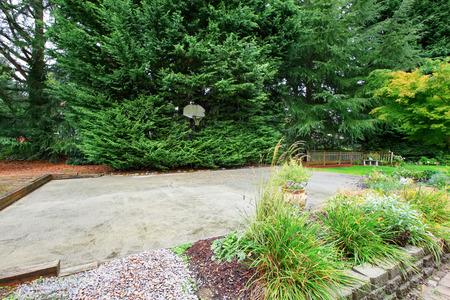 Backyard with concrete floor basketball court
