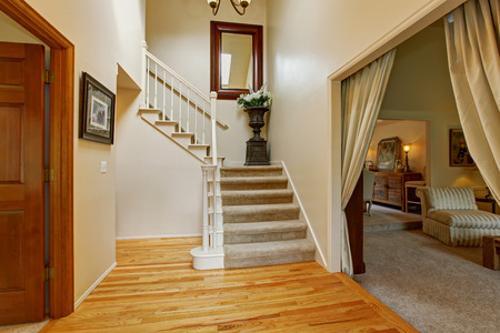 Luxury house interior with high ceiling and hardwood floor. Hallway with staircase and decorative flower pot