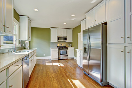 stainless steel kitchen: Green kitchen room with white storage combination, steel stainless appliances and hardwood floor Stock Photo