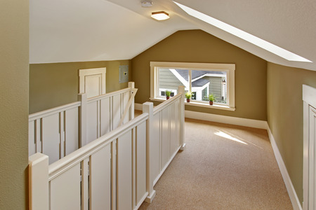 Upstairs hallway with vaulted ceiling and skylight. Staircase with high white railings.