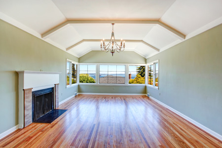 vaulted ceiling: Empty specious living room interior with vaulted ceiling, light mint walls, hardwood floor and fireplace. Room with bay view
