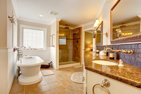Luxury bathroom interior. Room has glass door shower, cabinet with granite top ans two sinks, mirrors and white bath tub