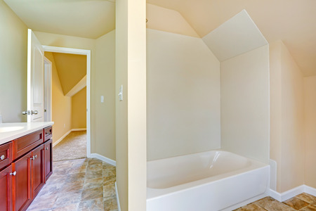 Empty bathroom interior. Simple white bath tub with vaulted ceiling.