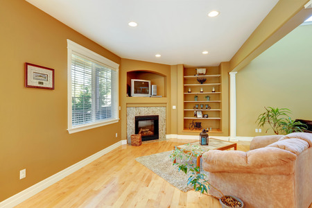 Cozy sitting area with fireplace, comfortable armchair and coffee table. Practical wall design with built in shelves