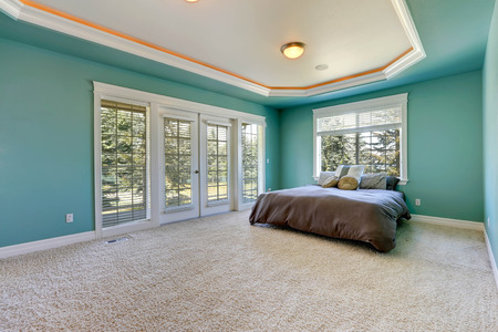 queen bed: Master bedroom in turquoise color with coffered ceiling. Furnished with queen size bed. Room has exit to backyard area
