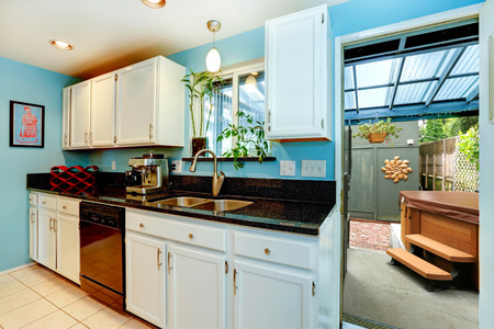 Light blue kitchen room with white cabinets and black counter top. Kitchen room has exit to backyard with jacuzzi