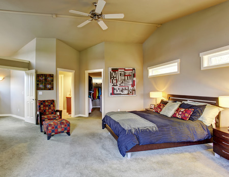 Large master bedroom with windows fireplace  colorful furniture and connecting bathroom. photo
