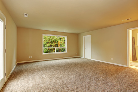 unfurnished: Unfurnished bedroom with carpet, window, connecting bathroom, and glass door. Stock Photo