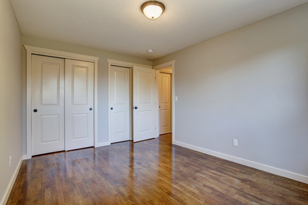 simplistic: Simplistic hardwood bedroom with great lighting and two closets.
