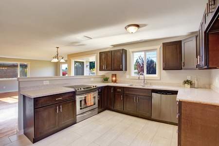 cabinets: Elegant kitchen with stained cabinets and window.