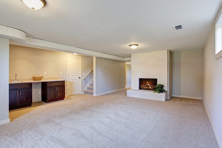 fire place: New living room with carpet, fire place, and cabinets.
