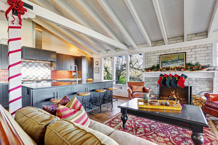 wood ceiling: Holiday winter decor living room interior with white vaulted wood ceiling.