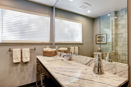 bathroom design: Luxury white and grey marble bathroom interior.