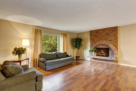 Perfect hardwood living room with fireplace and sofa.