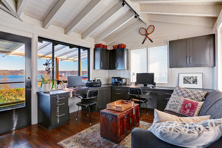 home office interior: Bright beautiful home office interior design with classic American style.