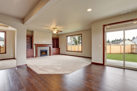 window: Lovely unfurnished living room with carpet and fireplace.