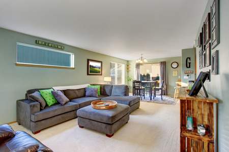 classic living room: Classic living room with carpet, grey furniture and cool colored decor. Stock Photo