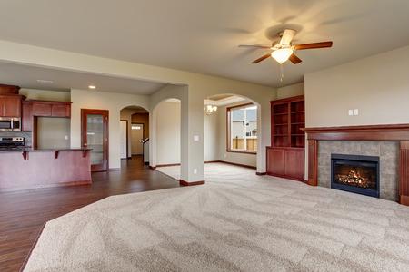 Precioso salón sin muebles con la alfombra y chimenea.