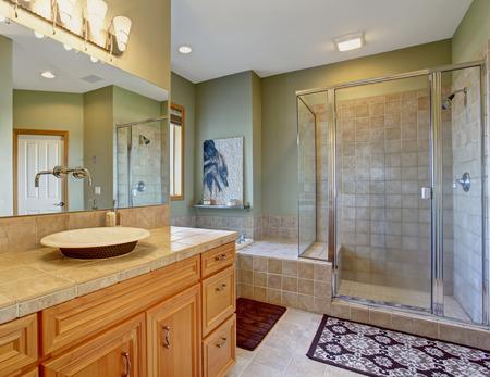 bathroom tile: Perfect bathroom with bowl style sinks and tile floors.