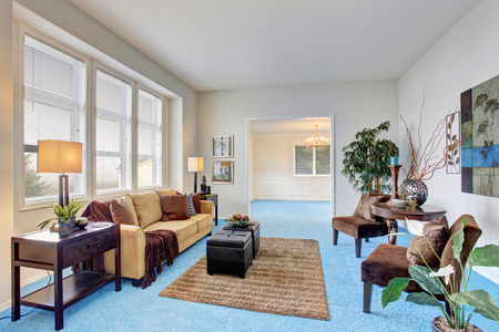 Georgous living room with bright blue carpet and nice decor. Stock Photo