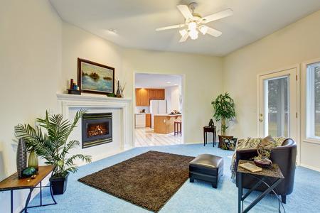 blue carpet: Georgous living room with bright blue carpet and nice decor. Stock Photo