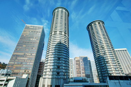 Amazing view of city buildings from apartment building windows. Stock Photo