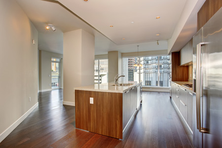 Perfect modern kitchen with hardwood floor and stainless steel fridge. Archivio Fotografico