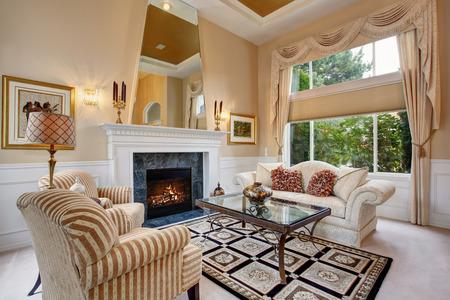 floor lamp: Perfect luxurious living room with elegant decor.