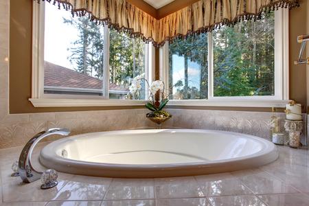 jacuzzi: Luxury jacuzzi bathtub in master bathroom with great lighting.