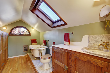 bathroom mirror: Vintage bathroom with marble snk, and vaulted ceiling. Stock Photo