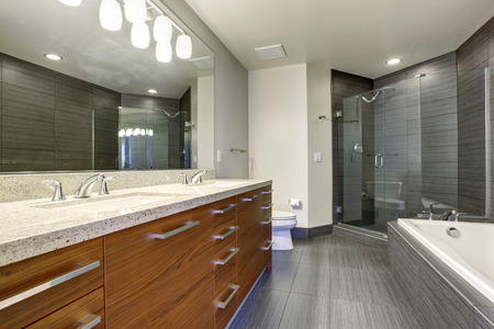 bathroom design: Beautifully modernized bathroom with gray flooring and large glass shower.