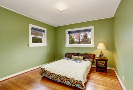 green walls: Boho themed bedroom with green walls, and lovely toned hardwood floor.