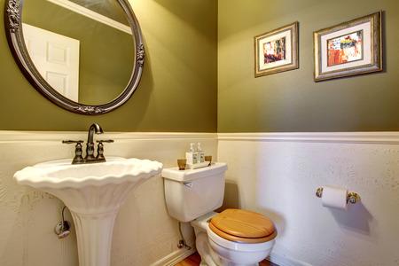 green walls: Vintage hardwood floor half bathroom with green walls. Stock Photo