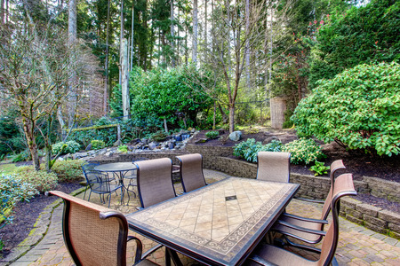 Vintage back patio with fire pit, furniture, and lots of greenery. Фото со стока