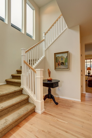 Nice entryway to home with carpet staircase.