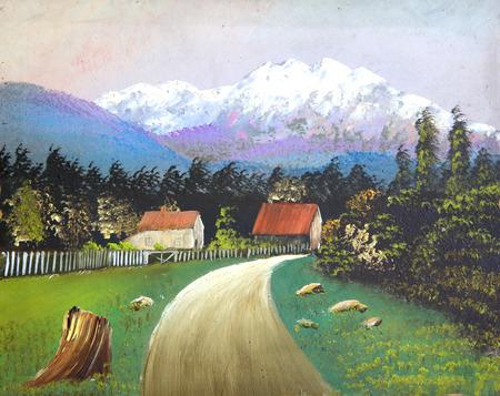 original: Original drawing of landscape with village.