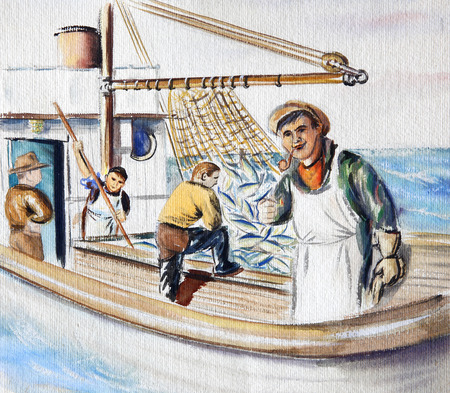 Original drawing of fisherman in the sea. Stock Photo