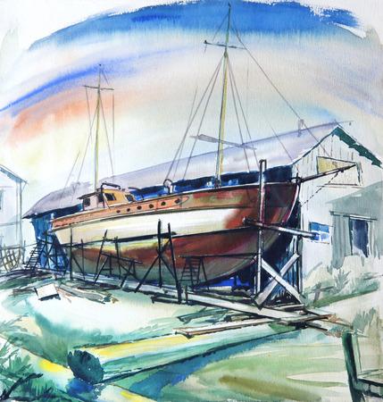 Boat at repair shop, original drawing.