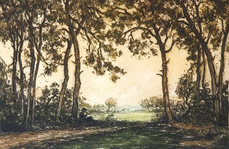 Original drawing of golden brown romantic landscape.