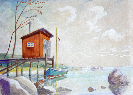 Beautiful beach and water painting with orange shed and boat. Stock Photo