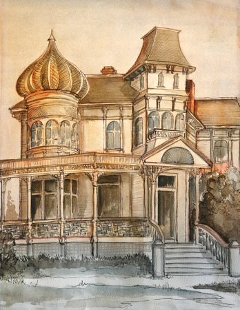windows: Hand drawing of large victorian dream house in orange and brown.