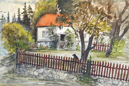 original: House with brown fence , dog and summer landscape. Original drawing. Stock Photo