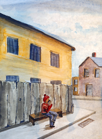 Small town street with man sitting on the bench.