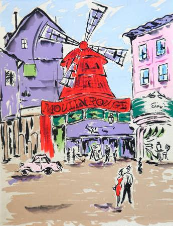 moulin: Moulin rouge. Paris. Original painting.