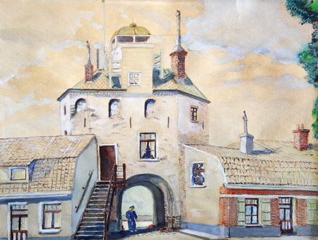 Original drawing of old European town with person in the arch.
