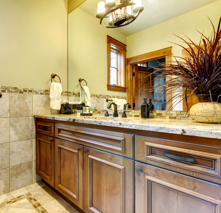 Elegant interior of simple luxury bathroom. Stock Photo